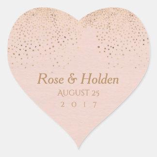 Autocollants roses de mariage d'or
