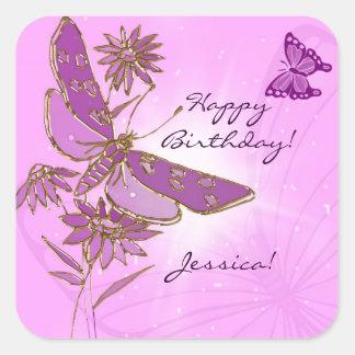 Autocollants roses de papillon de libellule