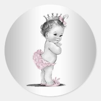 Autocollants roses vintages de princesse baby show