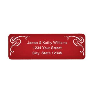 Autocollants rouges d'étiquette de adresse de étiquette d'adresse retour