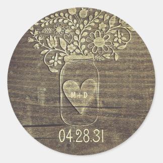 Autocollants rustiques de mariage de pot de maçon
