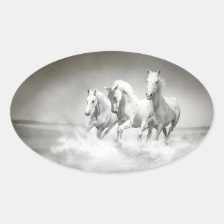 Autocollants sauvages d'ovale de chevaux blancs