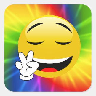 Autocollants souriants d'Emoji de signe de paix de