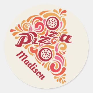 Autocollants stylisés de pizza de nom fait sur