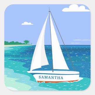 Autocollants tropicaux côtiers de plage de voilier