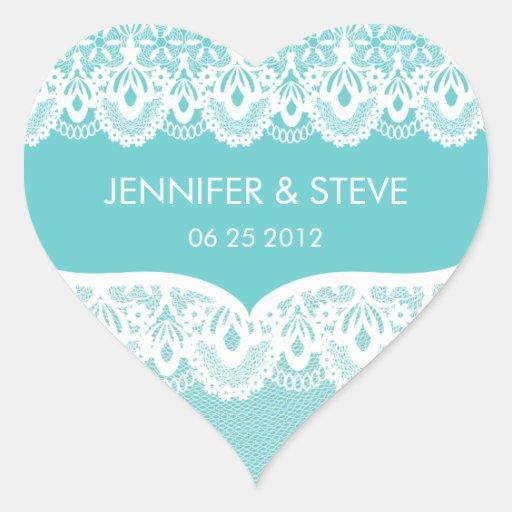 Autocollants turquoises de mariage de dentelle