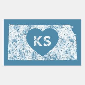 Autocollants utilisés d'état du Kansas d'amour d'I