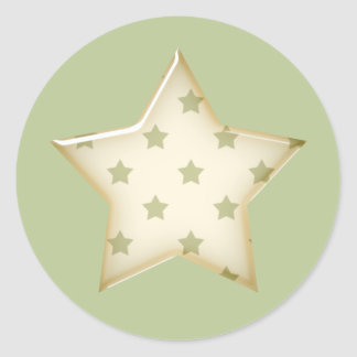 Autocollants verts et blancs d'étoile
