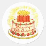 Autocollants vintages de gâteau de joyeux annivers