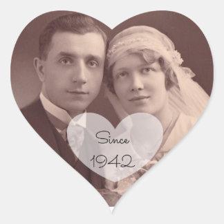 Autocollants vintages de photo de mariage