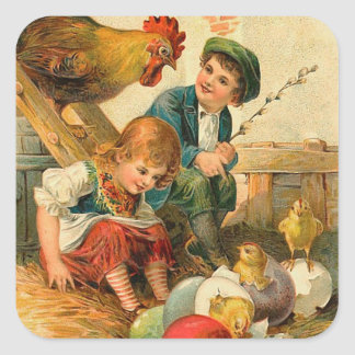 Autocollants vintages de poussin de Pâques