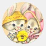 Autocollants vintages d'enfant de lapin de Pâques