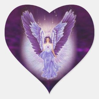 Autocollants violets de coeur d'ange d'améthyste