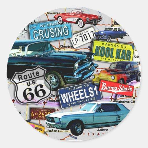 Autocollants - voitures de l'itinéraire 66_Classic