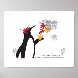 Automne de citation de pingouin et de feuille poster