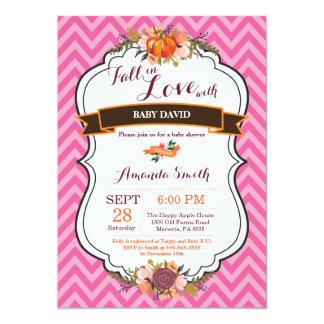 Automne de fille dans l'invitation de baby shower carton d'invitation  12,7 cm x 17,78 cm