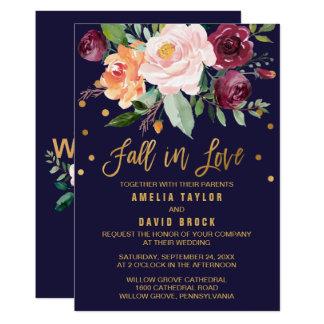 Automne floral de l'automne | dans le mariage carton d'invitation  12,7 cm x 17,78 cm