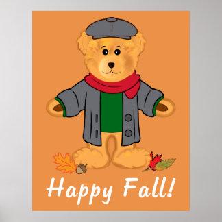 Automne heureux d'ours de nounours poster