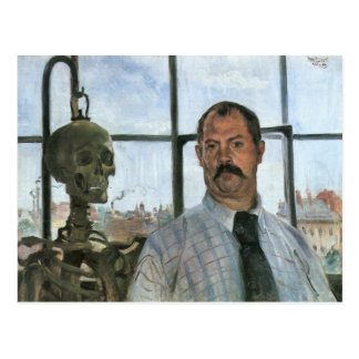 Autoportrait avec le squelette par Lovis Corinthe Carte Postale
