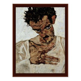 Autoportrait avec sa tête vers le bas par Schiele Carte Postale