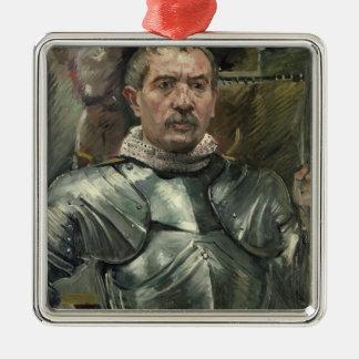 Autoportrait dans l'armure, 1914 ornement carré argenté