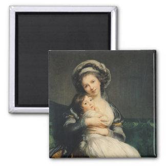Autoportrait dans un turban avec son enfant, 1786 magnet carré
