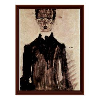 Autoportrait dans une robe longue noire par carte postale