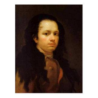 Autoportrait de description, huile sur le panneau, carte postale