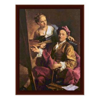 Autoportrait de l'artiste avec sa fille cartes postales