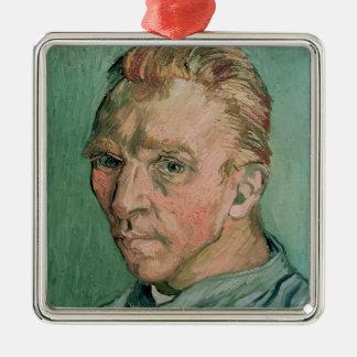 Autoportrait de Vincent van Gogh  , 1889 Ornement Carré Argenté