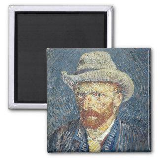 Autoportrait de Vincent van Gogh | avec le chapeau Magnet Carré