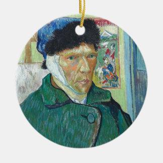 Autoportrait de Vincent van Gogh avec l'oreille Ornement Rond En Céramique