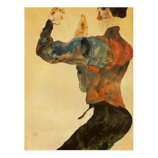 Autoportrait d'Egon Schiele- avec les bras Carte Postale