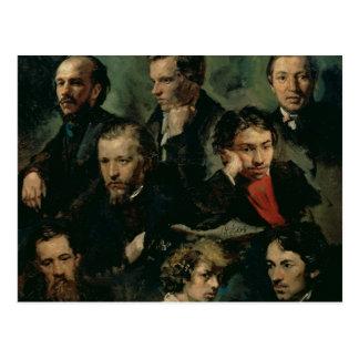 Autoportrait et portraits des amis, 1864 carte postale