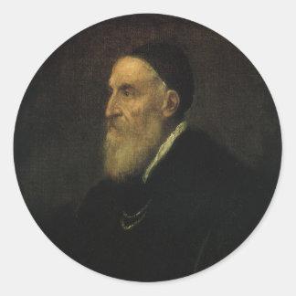 Autoportrait par Titian, art de Renaissance Sticker Rond