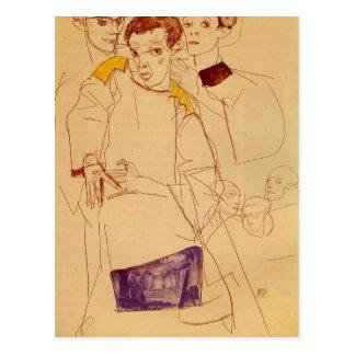 Autoportrait triple d'Egon Schiele- Cartes Postales