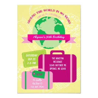 Autour du monde pendant 90 années d'invitation carton d'invitation  12,7 cm x 17,78 cm