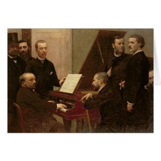 Autour du piano, 1885 carte de vœux