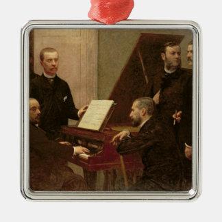 Autour du piano, 1885 ornement carré argenté