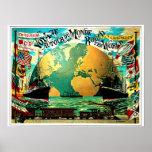 Autour du voyage vintage de voyage du monde poster