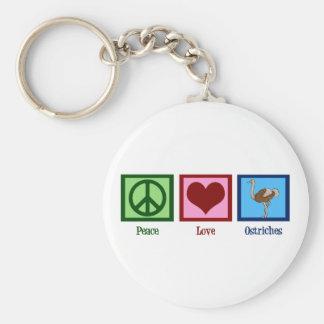 Autruches d'amour de paix porte-clé