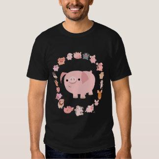 Avant de T-shirt de mandala de porc
