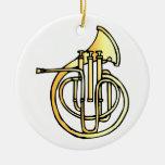 Avant en forme de corne français d'instrument fais décorations pour sapins de noël