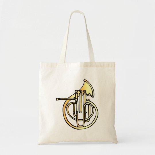 Avant en forme de corne français d'instrument fais tote bag
