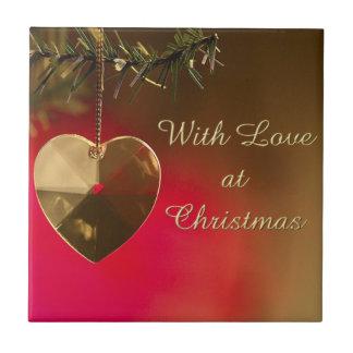 Avec amour au trépied de tuile de Noël Carreau En Céramique