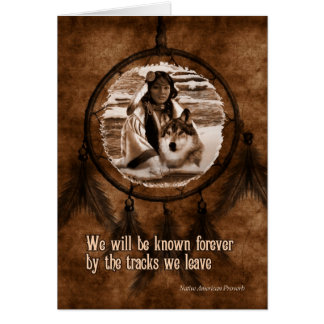 Avec le loup Dreamcatcher de Natif américain de Carte De Vœux