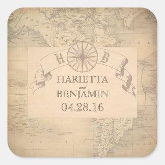 Aventure vintage de carte du monde et mariage de sticker carré