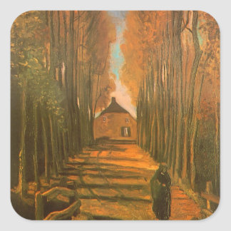 Avenue des peupliers en automne par Vincent van Sticker Carré