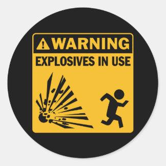 Avertissement Autocollant en service d explosifs
