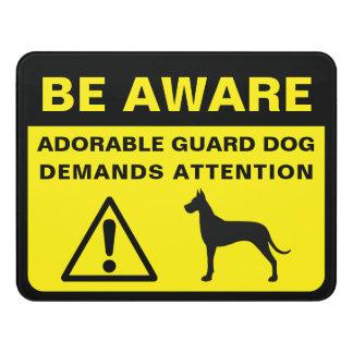 Avertissement drôle de chien de garde de plaque de porte